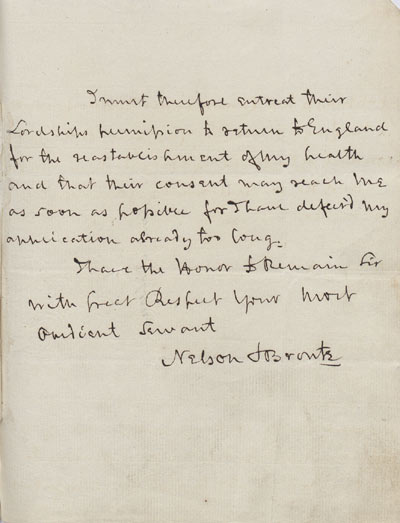 Nelson asks for leave. 16 August 1804. Cat ref: ADM 1/408 (N114). Crown copyright.