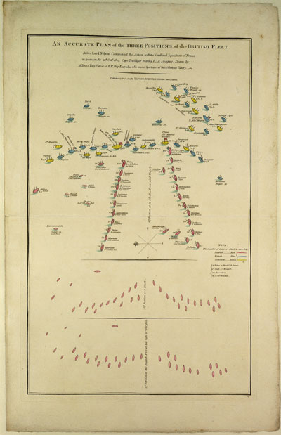 "Print, ""Accurate Plan of the 3 positions of the British Fleet"". 17 December 1805. Cat ref: MPI 1/536."