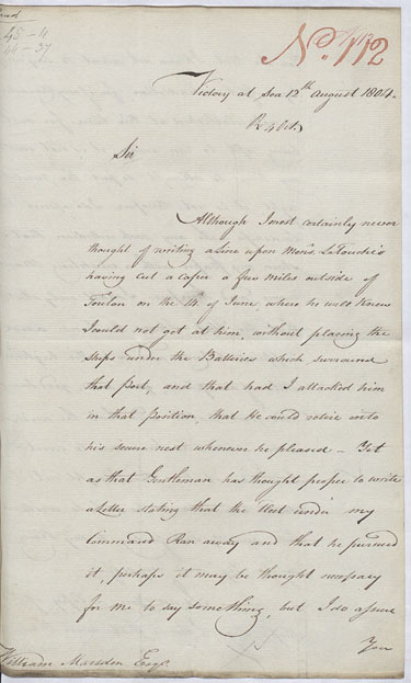 Nelson responds to French taunts. 12 August 1804. Cat ref: ADM 1/408 (N112). Crown copyright.