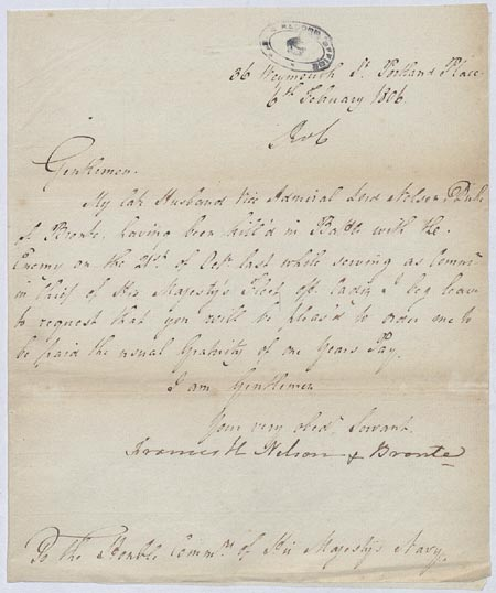 Lady Nelson's application for the 'Royal Bounty'. 6 February 1806. Cat ref: ADM 106/3028. Copyright, Frances, Lady Nelson.