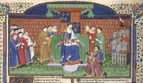 Henry VI presenting the Earl of Shrewsbury with the sword of the Constable of France, 1442
