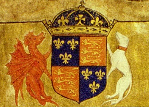 Henry VII's coat of arms. Cat ref: E 33/2