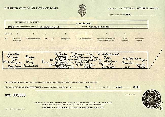 Focus on women in uniform - General register office birth certificate ...