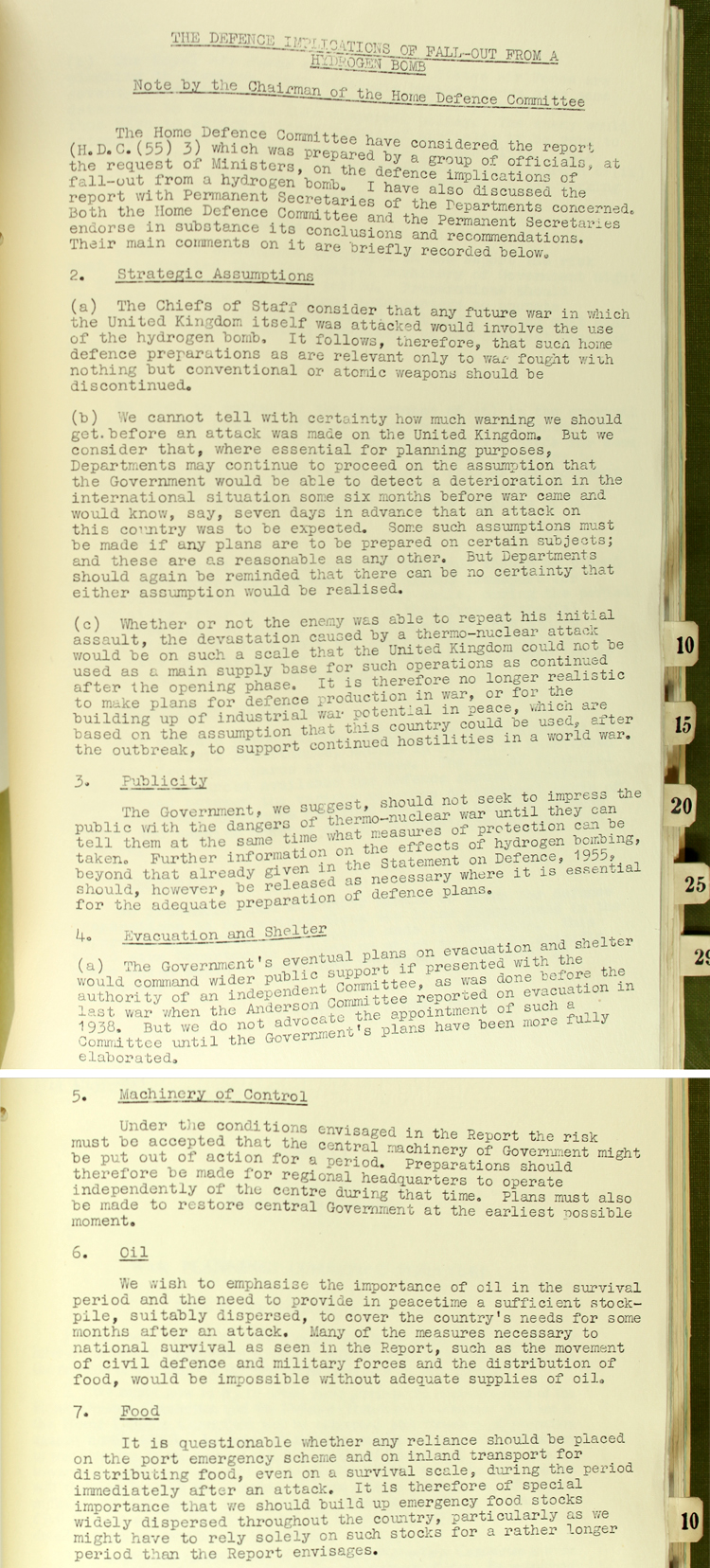 Summary of comments on a report outlining the defence implications of a Hydrogen Bomb attack recorded by Norman Brook at the Cabinet Office, 25th March, 1955 (CAB 134/940)