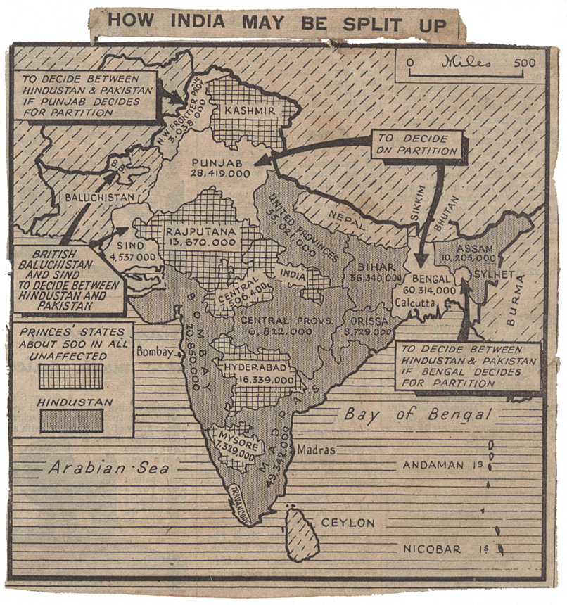 Map speculating on a possible division of India from the Daily Herald newspaper, 4th June 1947 (CAB 21/2038)