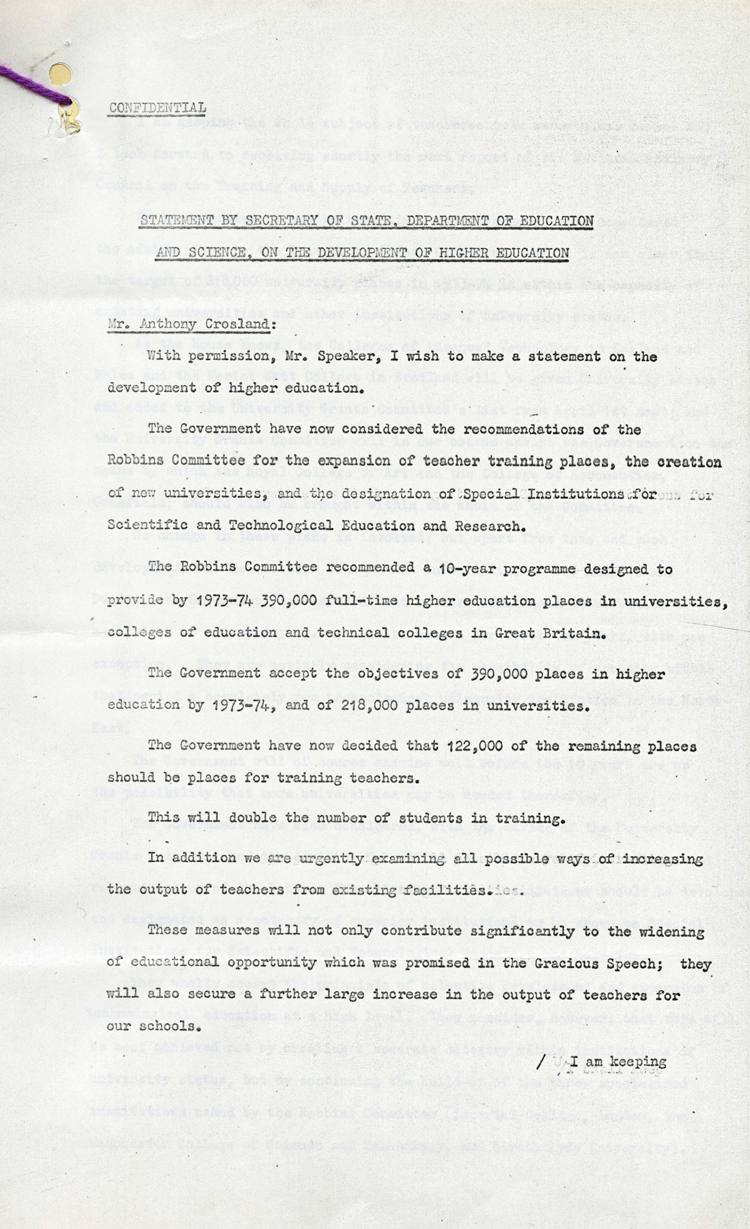 Government statement on plans for higher education by Anthony Crosland, October 1963 (CAB 21/5532)