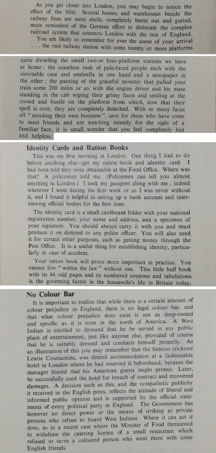"Extracts from a booklet produced in July 1950 by the Central Office of Information called ""A West Indian in England"" (CO 875/59/1)"