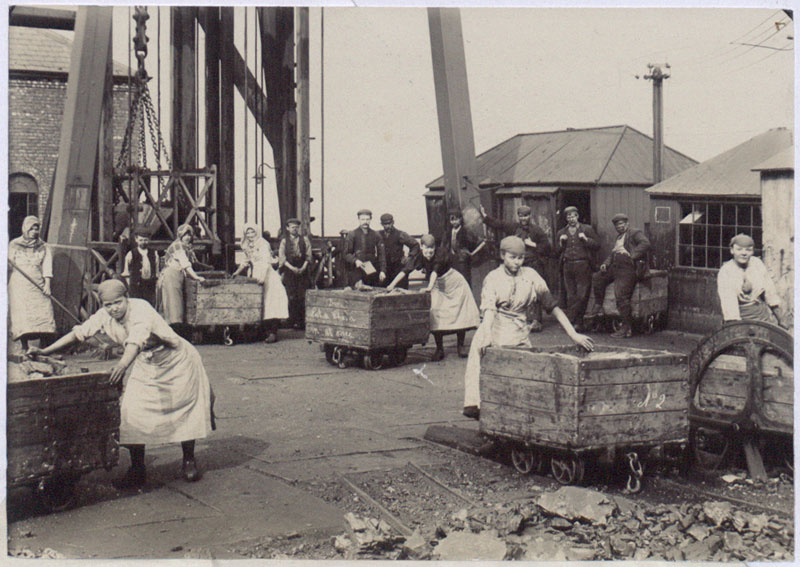 """Pit girl brow workers at work"", Wigan Junction Colliery, Abram, near Wigan, Lancashire, 1900 (COPY 1/445 f.31)"