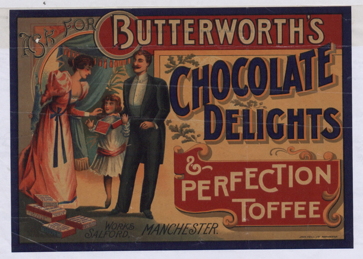 Advert for chocolates and toffee, 1895 (COPY 1/119 f.72)