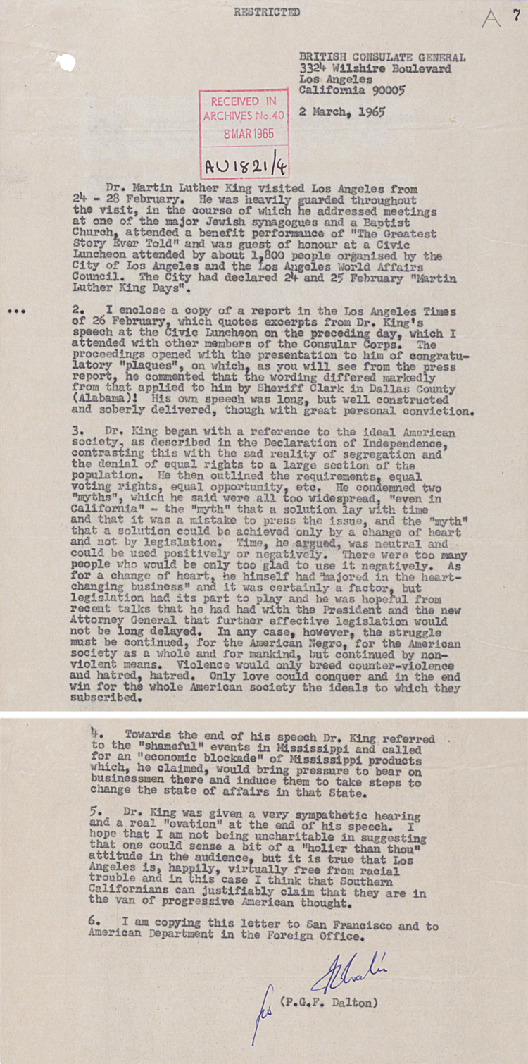 Report from Britain's Consul-General in Los Angeles on a speech by Martin Luther King, 2nd March 1965 (FO 371/179611)
