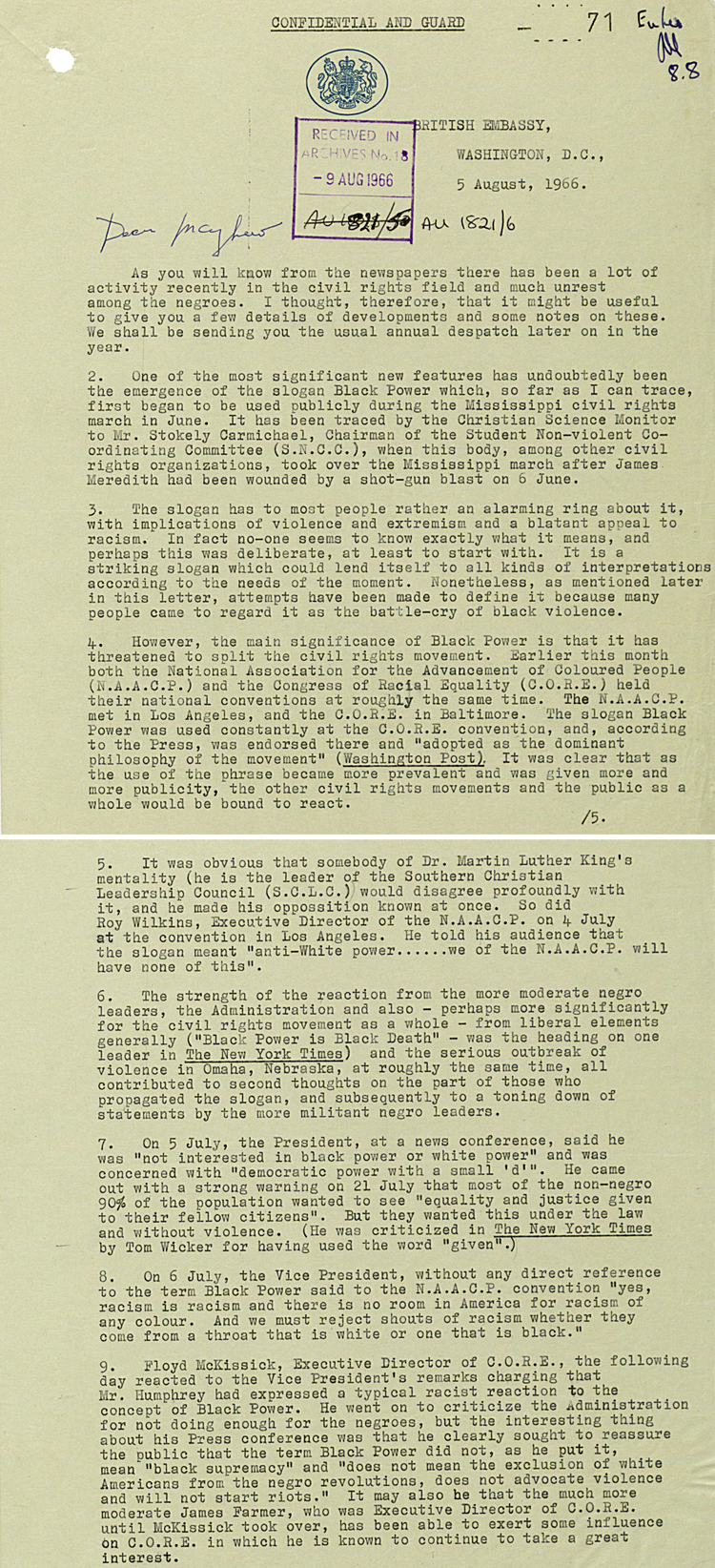 "Despatch from British Embassy Washington to Foreign Office on use of ""Black power"" slogan, 5th August 1966 (FO 371/185052)"