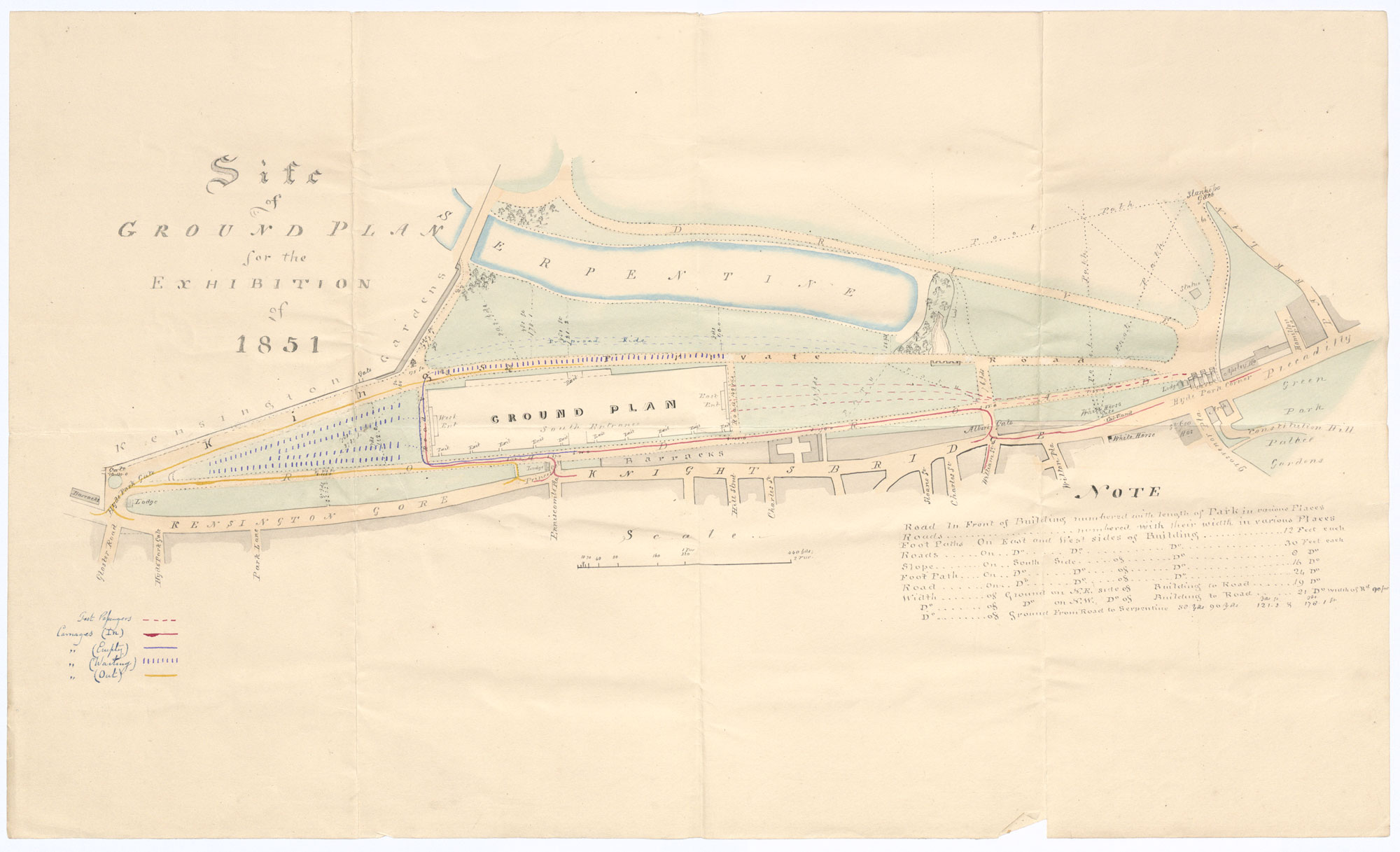 Site plan/map for the Great Exhibition in Hyde Park 1851 (HO 45/3051)