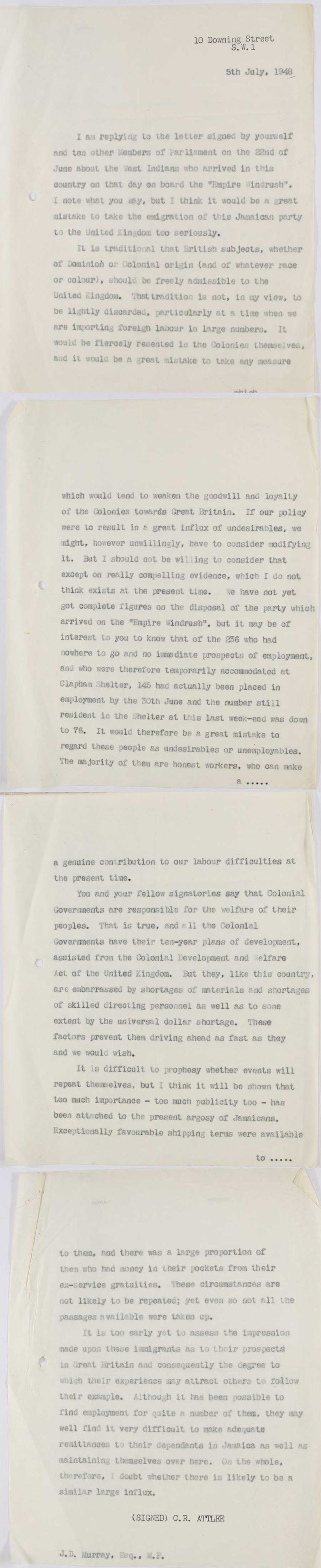 Letter from Prime Minister Attlee to an M.P. about immigration to the U.K, 5th July, 1948 (HO 213/ 715)