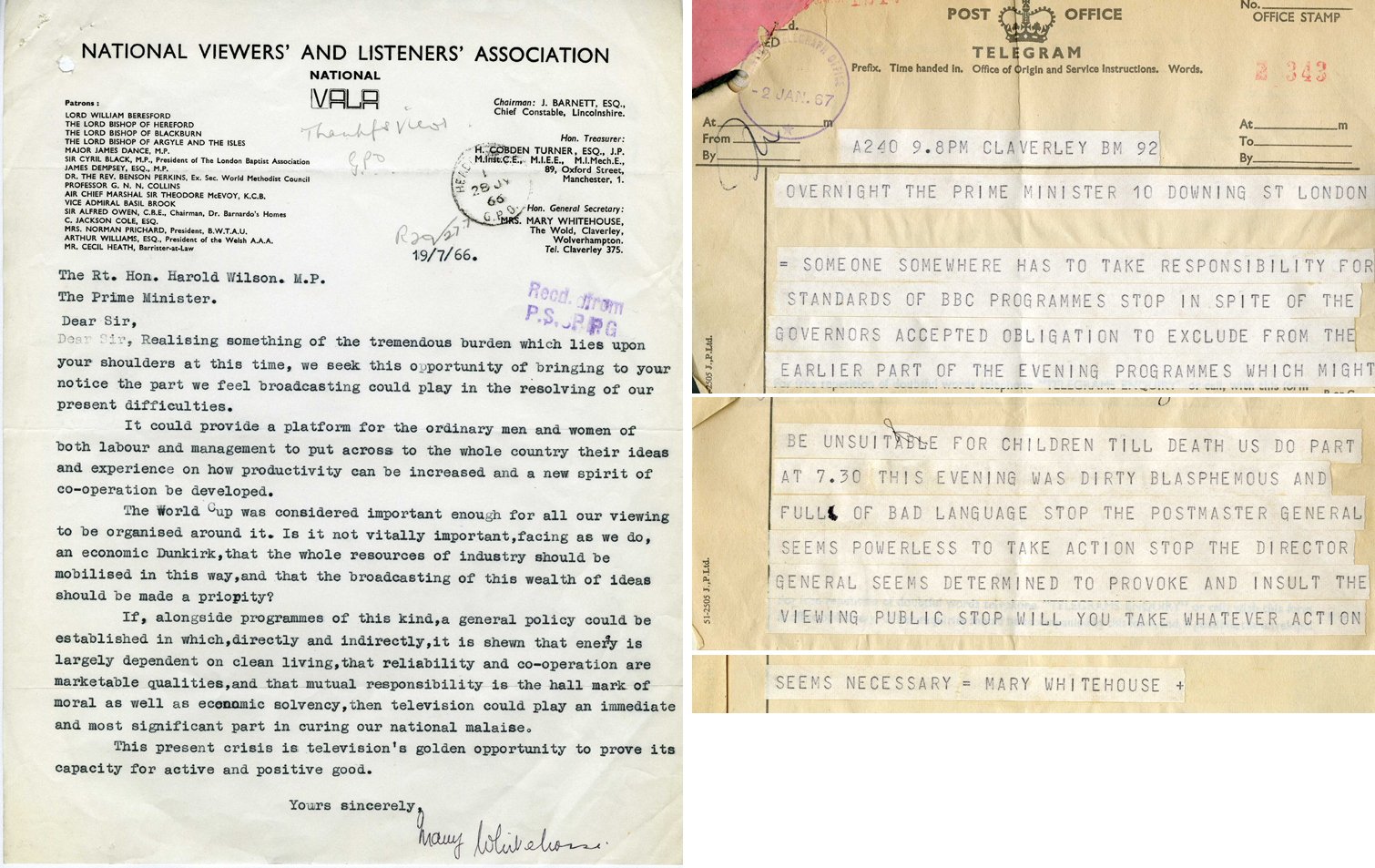 Letter and telegram from Mrs Mary Whitehouse to Prime Minister Harold Wilson, both from the Summer of 1966 (HO 256/719)