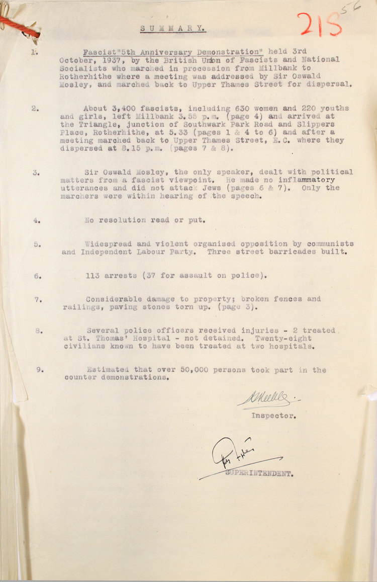 Police summary on Fascist 5th Anniversary March, 27th October 1937 (MEPO 2/3117)