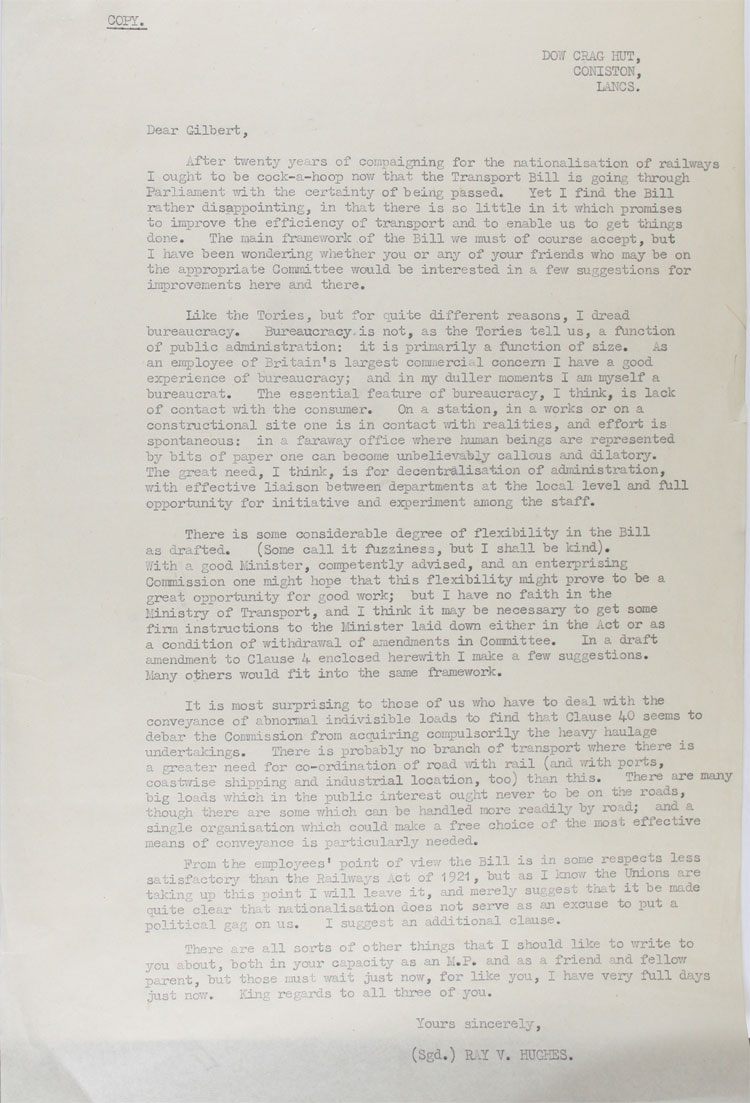 Letter from a senior planning engineer for the London, Midland and Scottish Railway, to MP Gilbert McAllister about the Railways Nationalisation Bill, 30th January, 1947(MT 74/188)