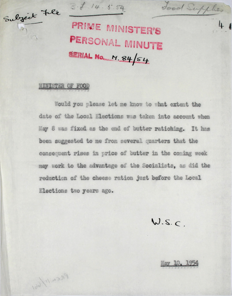 Memo from Prime Minister Winston Churchill to Gwilym Lloyd George, the Minister of Food, May 1954 (PREM 11/661)
