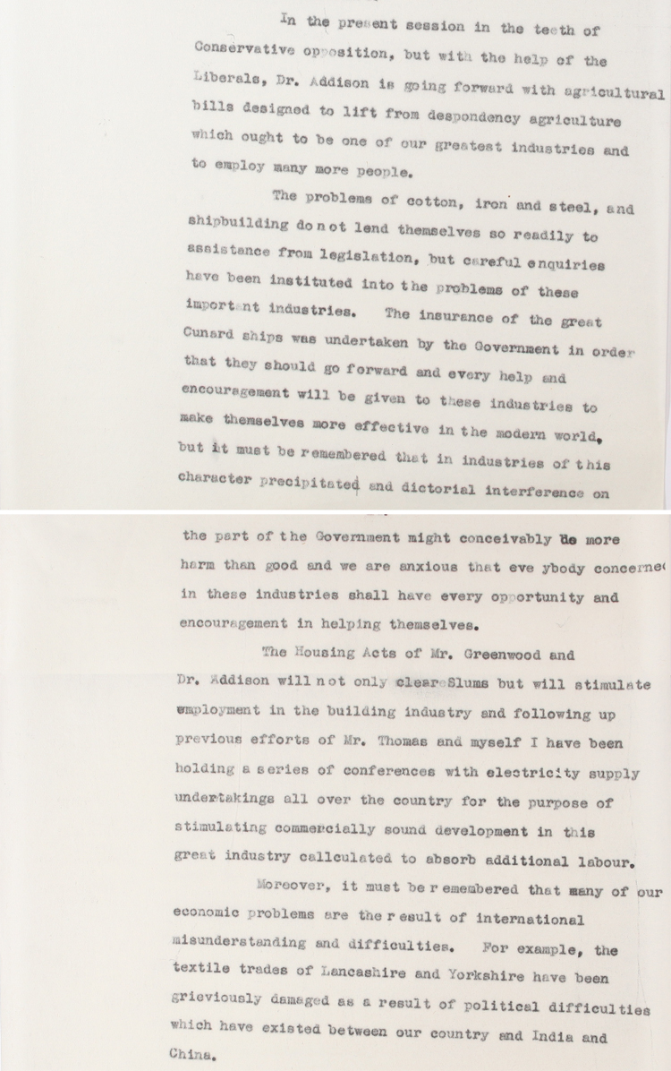 Extract from BBC broadcast on unemployment by Herbert Morrison, Minister of Transport, January 1st 1931 (PRO 30/69/463)