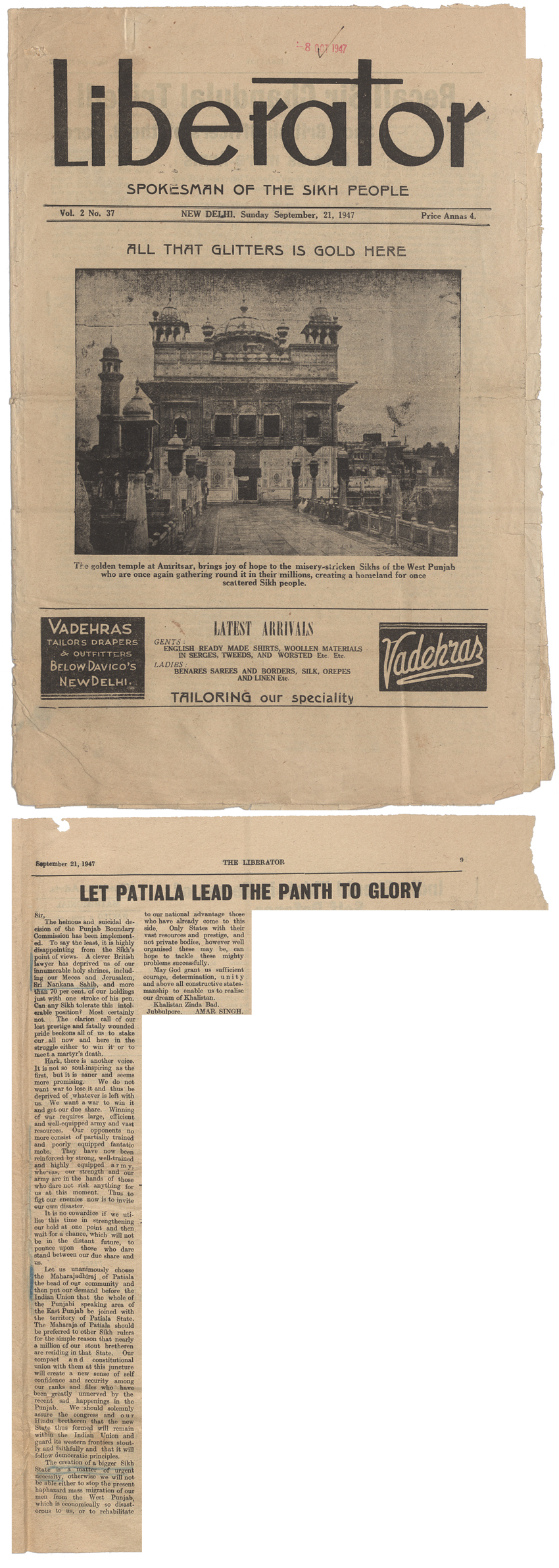 The Liberator, a Sikh newspaper published in India (New Delhi), 21st September 1947 (WO 208/3811)