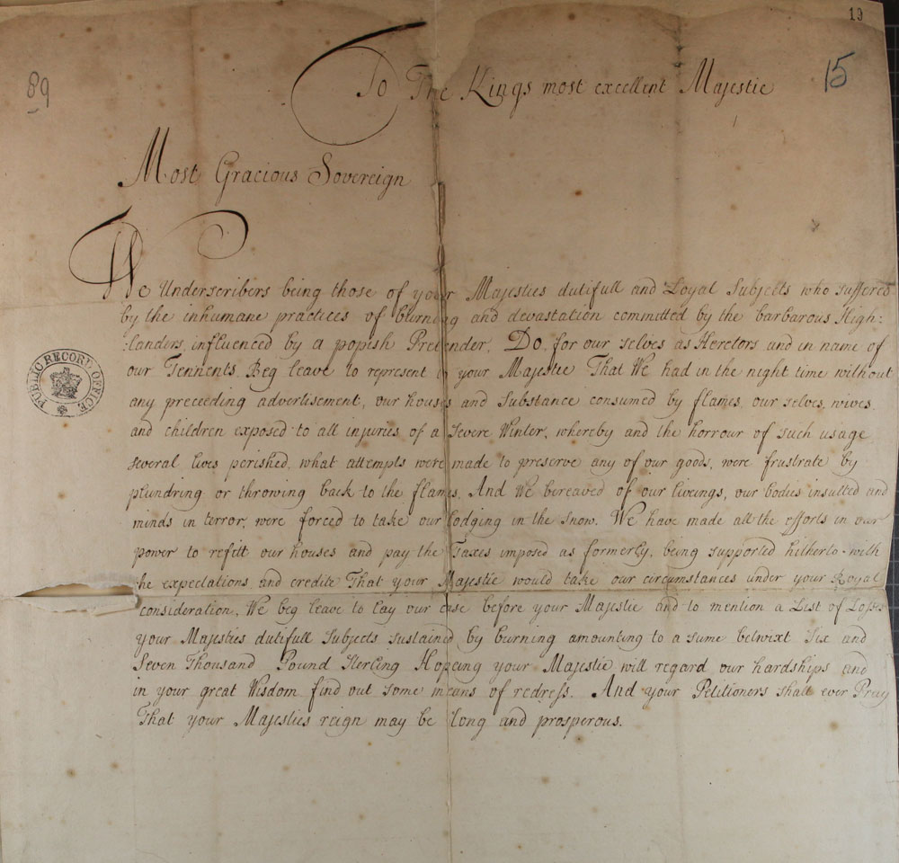 Petition to King George I after the Jacobite rising of 1715 (SP 35/7/15b)
