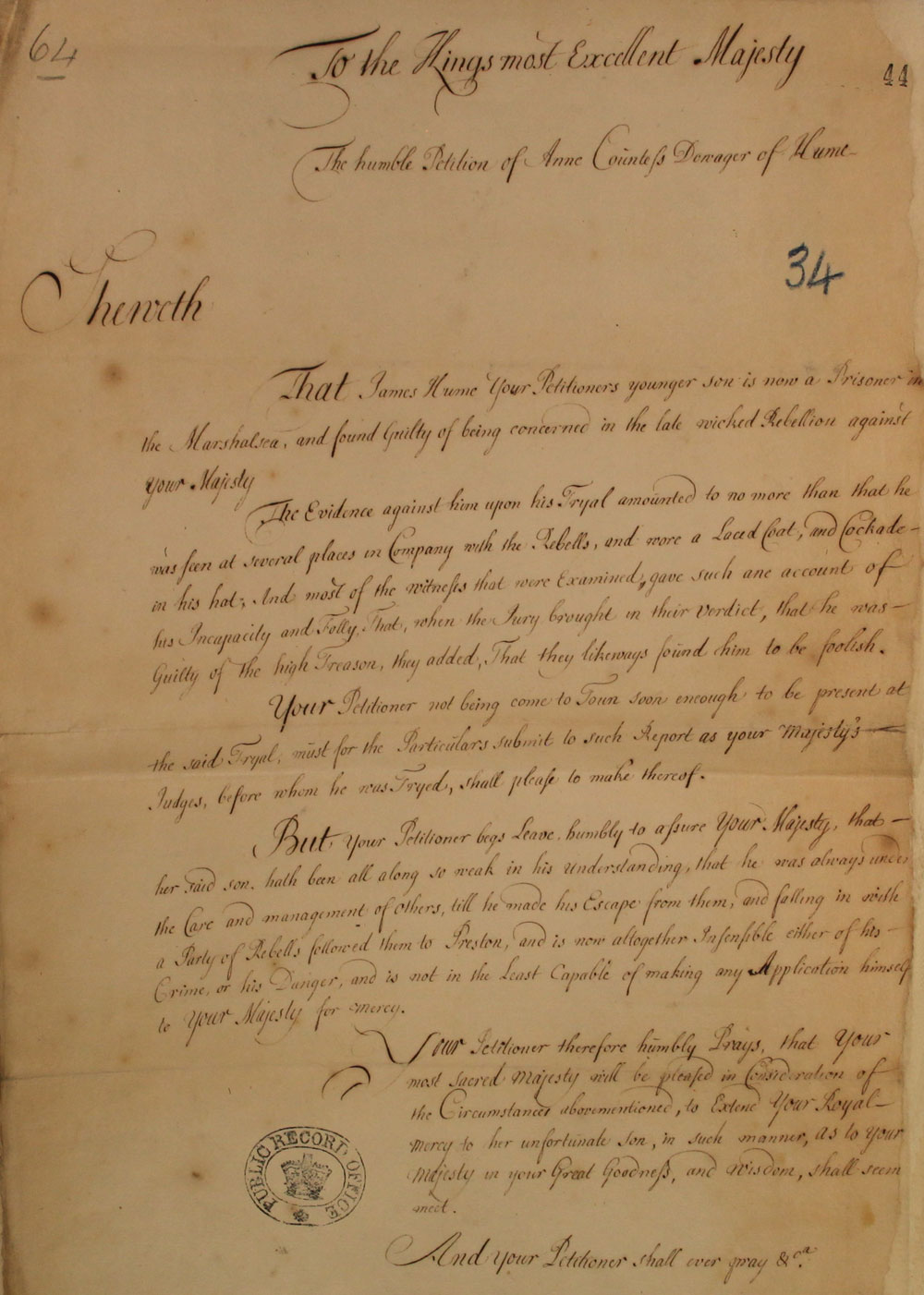 Petition from Countess Dowager, 1716, SP 35/7/34