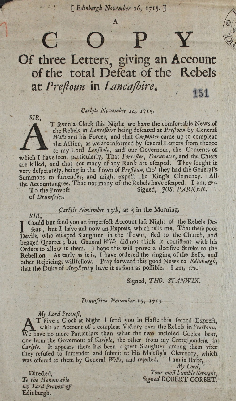 A pamphlet giving three accounts of the defeat of the Jacobites in Preston, Lancashire, dated from14th to 15 November 1715 (SP 54/10/57)