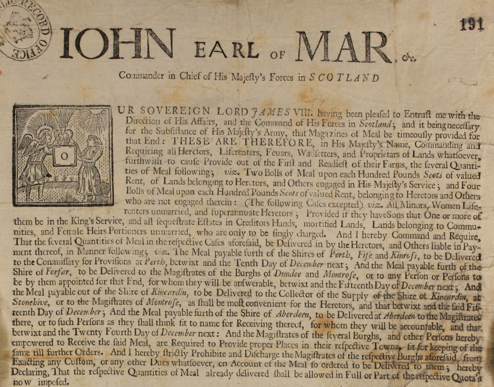Handbill from Jacobite commander the Earl of Mar (SP 54/10/78)