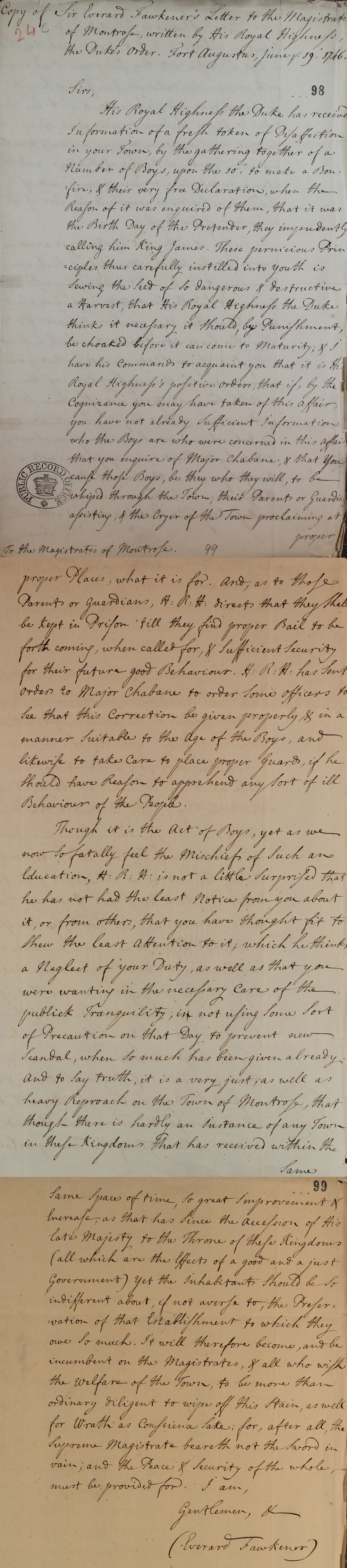Letter from Sir Everard Fawkener, 1746 (SP 54/32/24c)