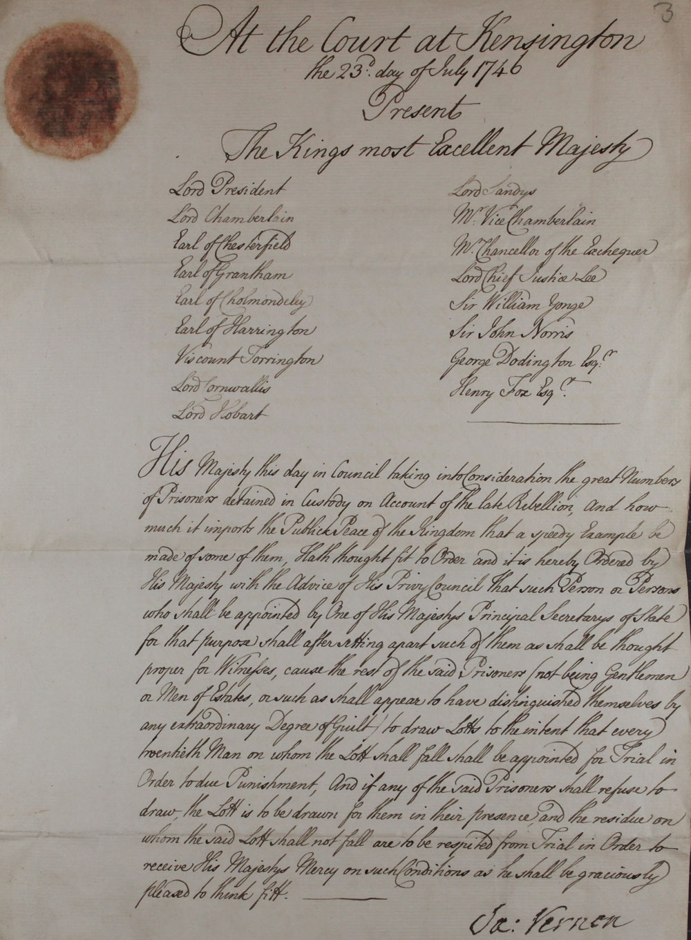 An order on behalf of King George II, 1746 (TS 20/44)