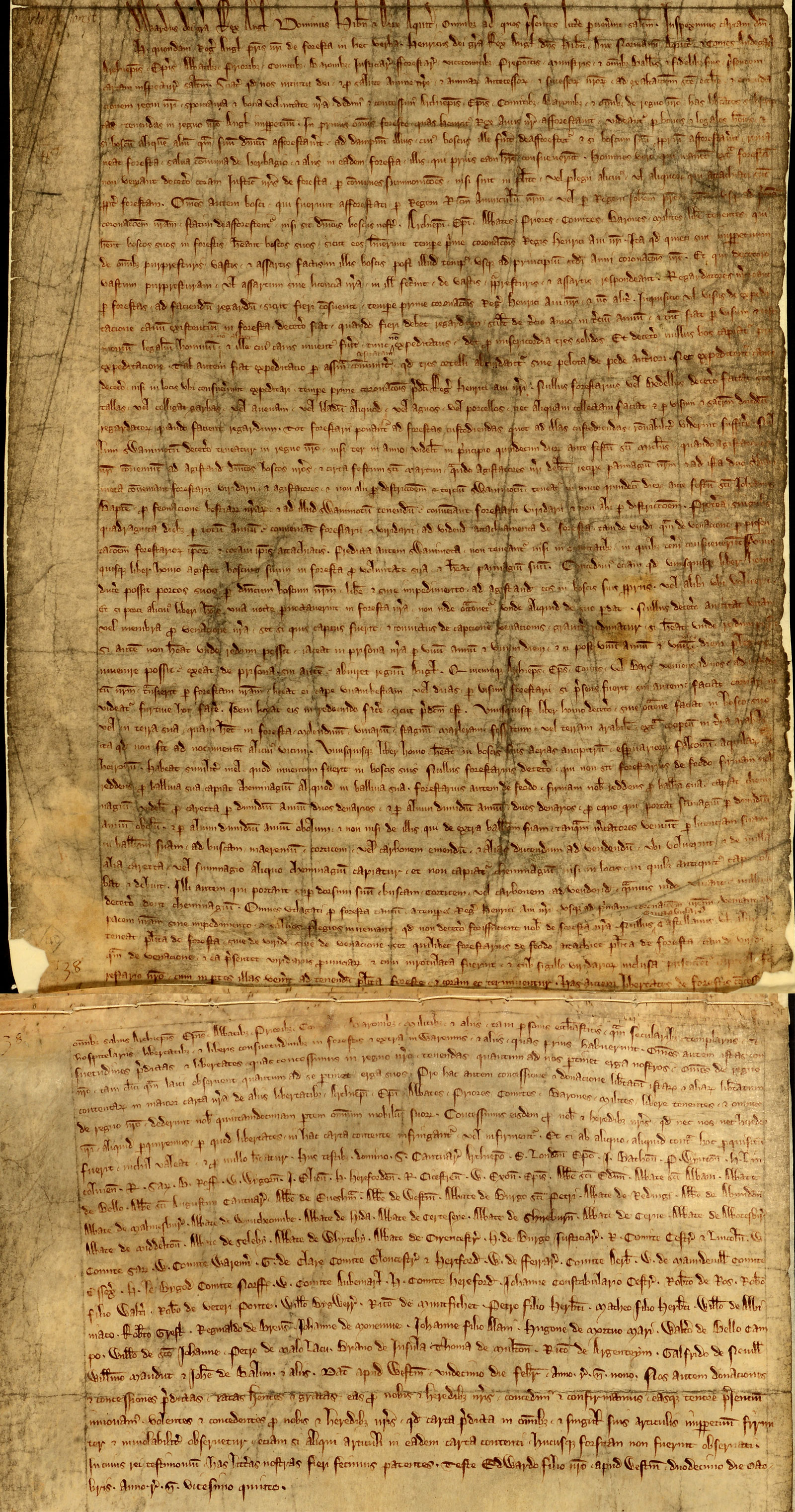 Charter of the Forest, Westminster, 1225 (C 74/1)
