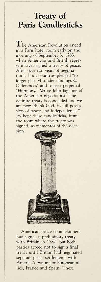 A picture of one of the Treaty of Paris candlesticks given to the UK by the USA (catalogue reference: PREM 19/1656/2)
