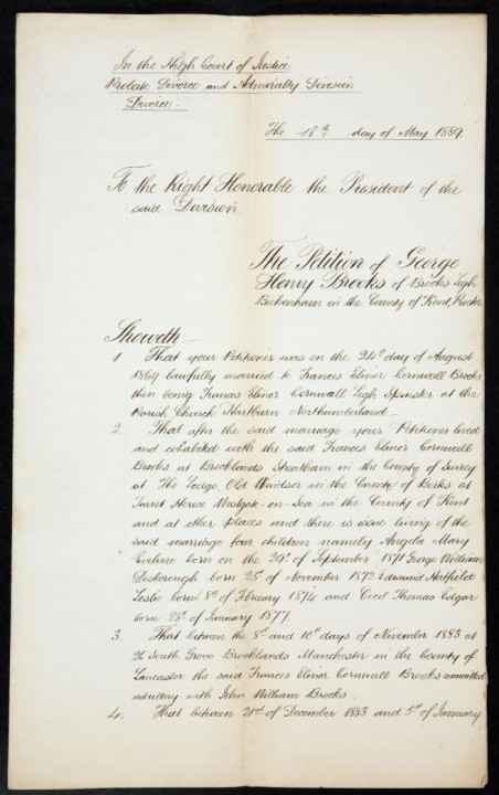 Document reference: J 77/425/2983. Petition of George Brooks.