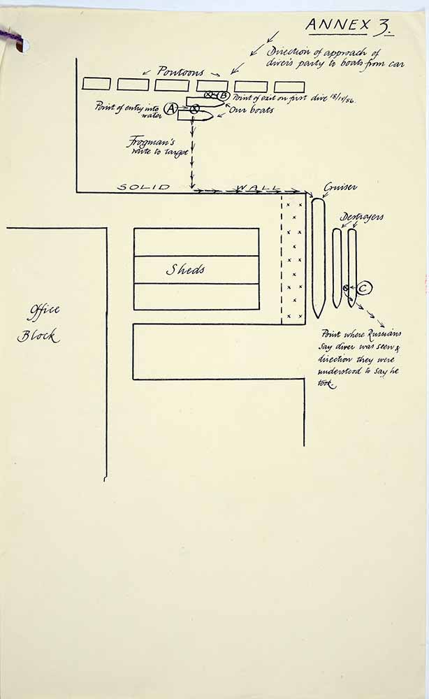 Diagram from Bridges enquiry into disappearance of Commander Crabb (catalogue reference: CAB/301/124)
