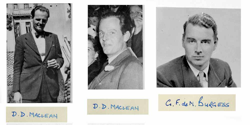 Photographs of Guy Burgess and Donald Maclean within file FCO/158/6