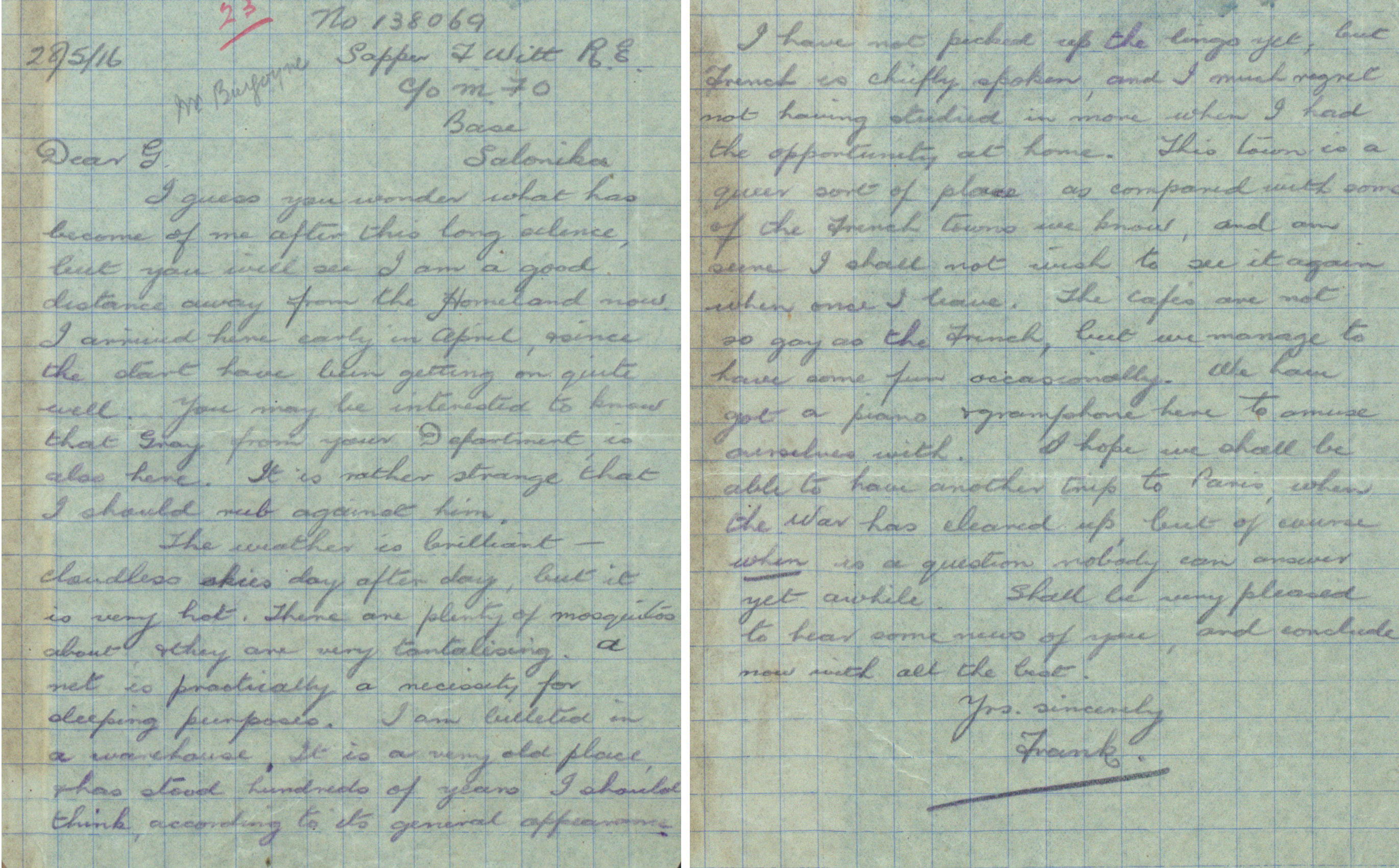 One of a collection of letters written by staff of the Great Western Railway, Paddington, who went to war (RAIL 253/516)