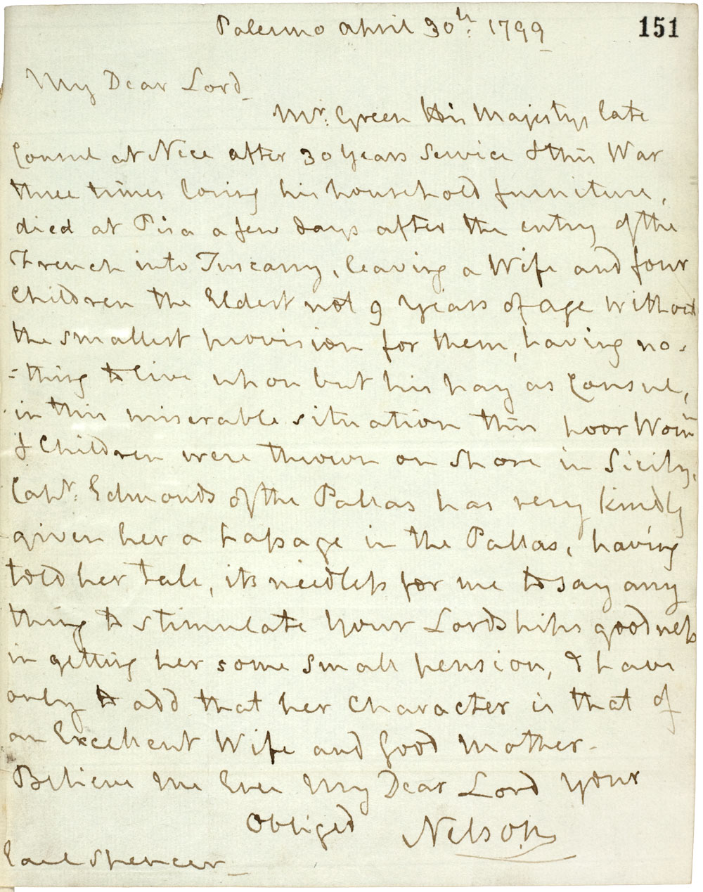Letter from Horatio Nelson (FO 57/1 f.151)