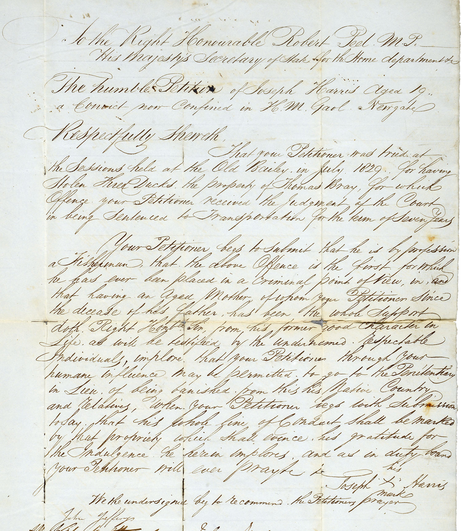 Petition from Joseph Harris to Robert Peel, Secretary of State (HO 17/40 pt.3 f.18)