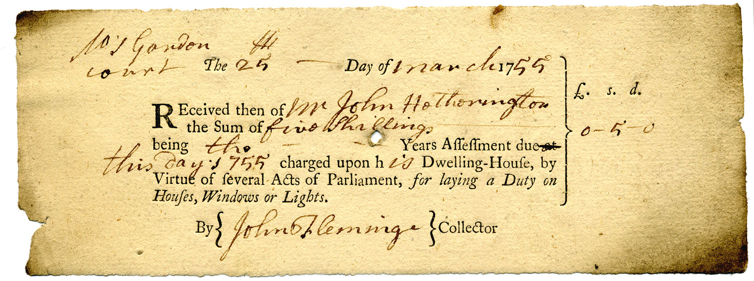 WIndow tax receipt, 1755 (QAB 1/13/27)