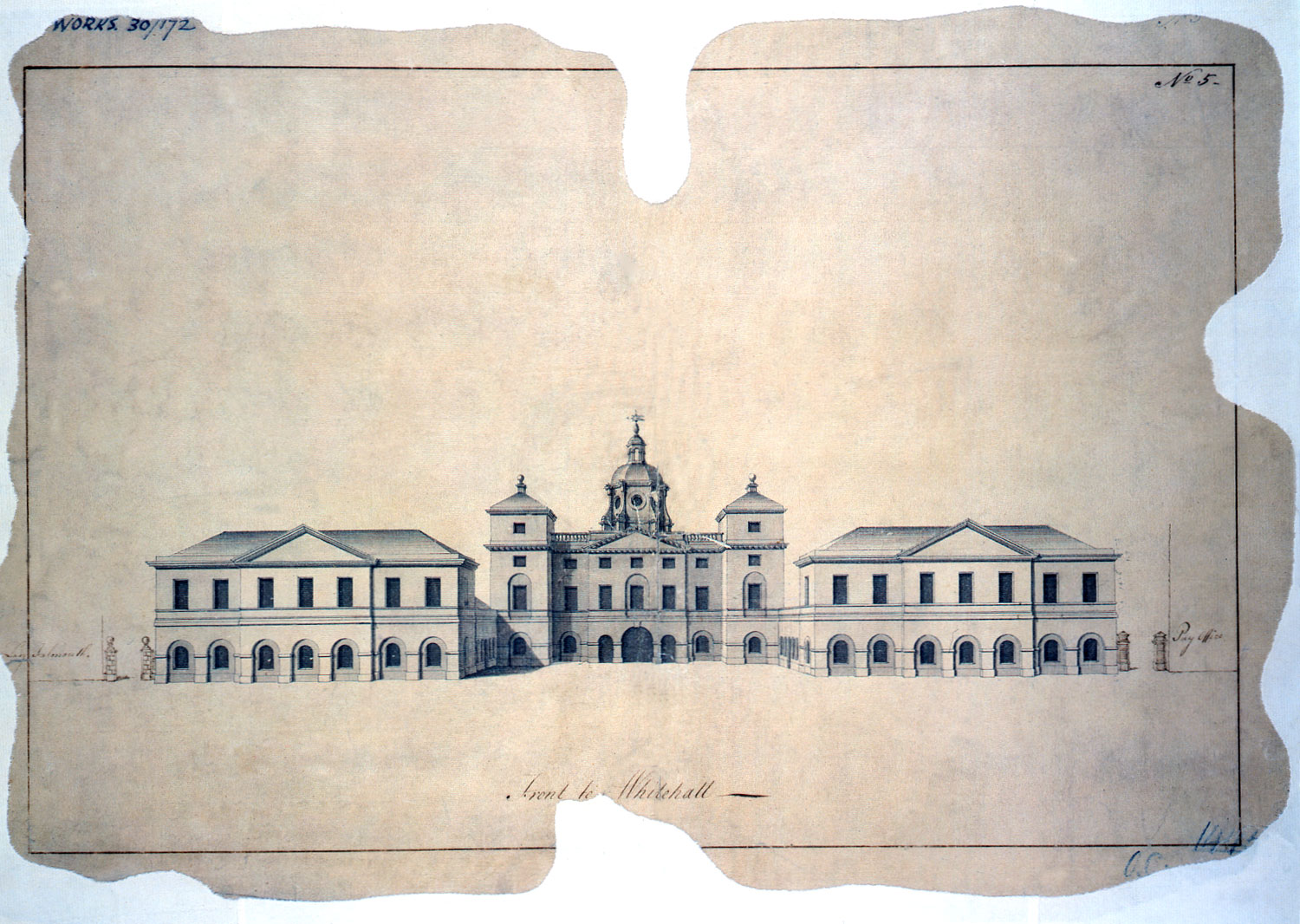 Horse Guards, elevation to Whitehall, c.1720, (WORK 30/172)
