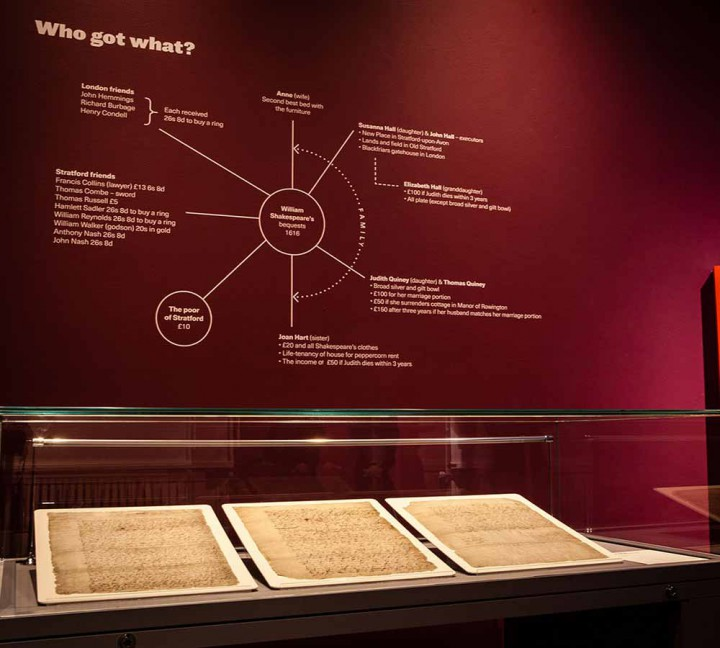 A photograph of the three sheets of Shakespeare's will in a display case