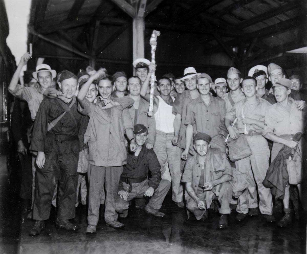 Prisoners of war at Nagasaki railway station, 1945