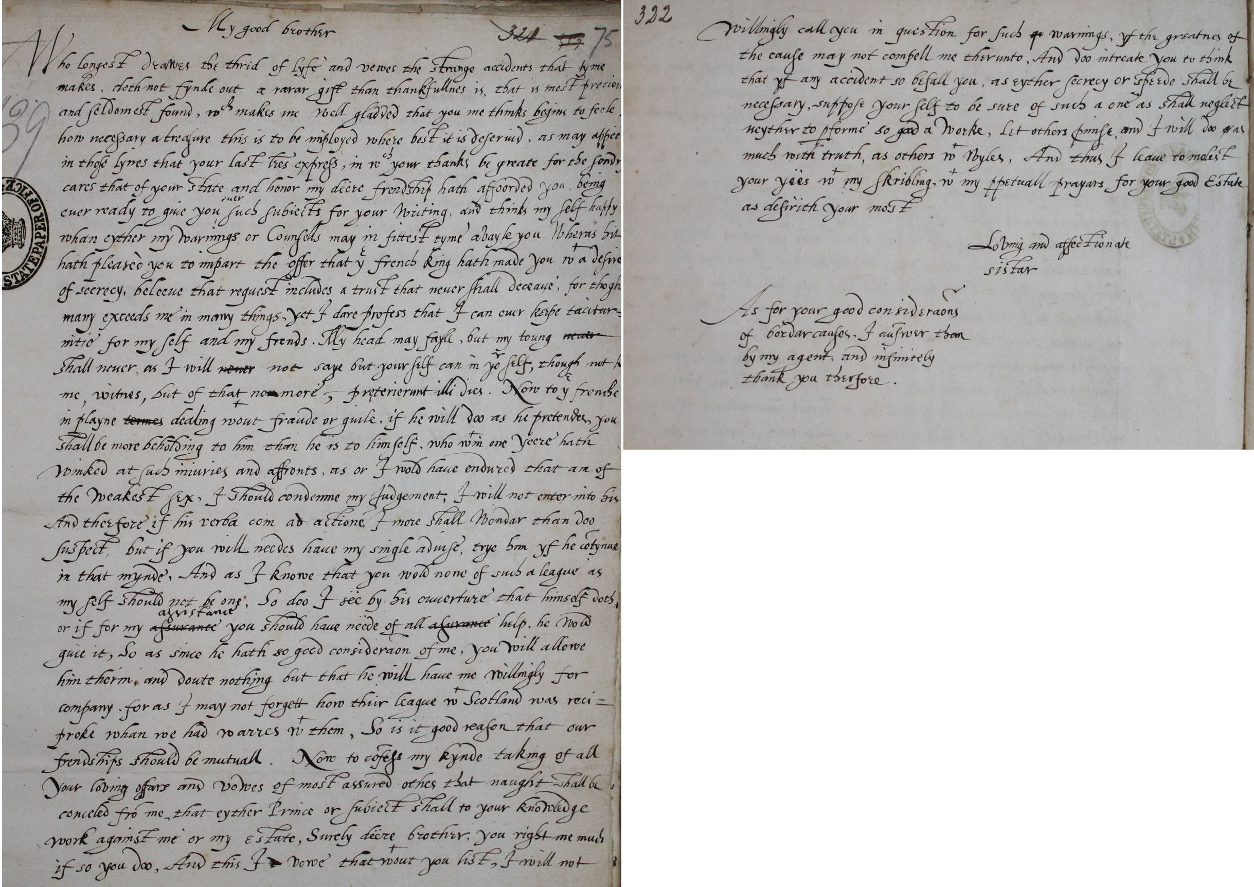 Elizabeth I to James VI, 4 July 1602 (SP 52/68 f.75)