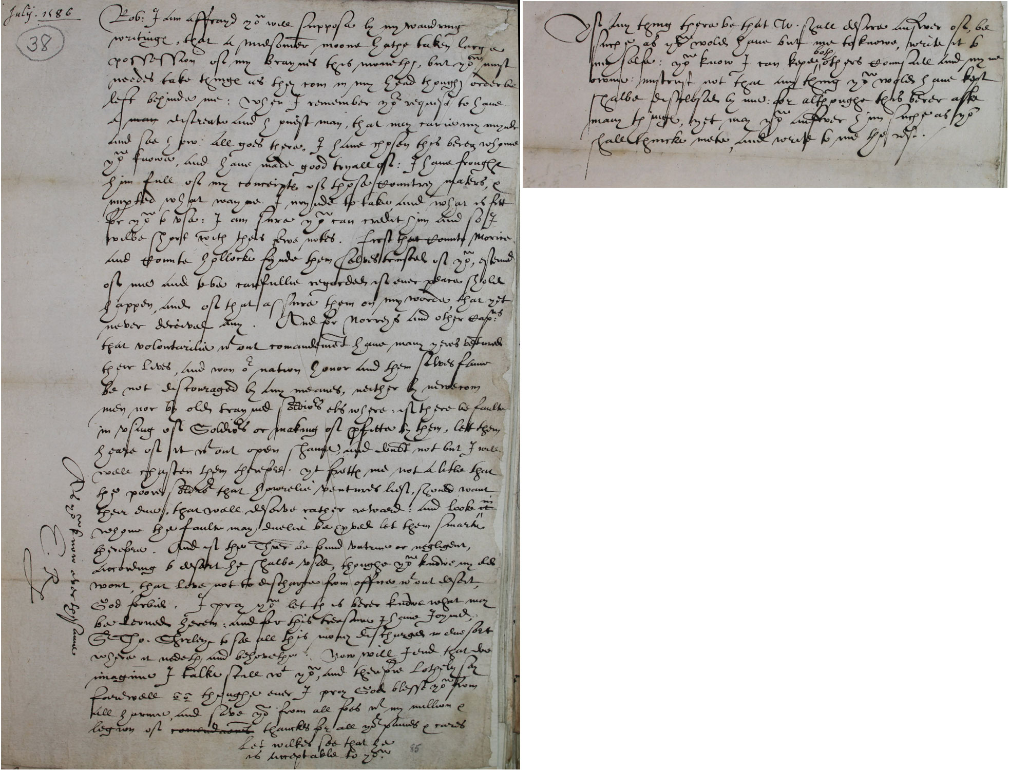 Elizabeth to Robert Dudley, Earl of Leicester, 19 July 1586 (SP 84/9 f.38)