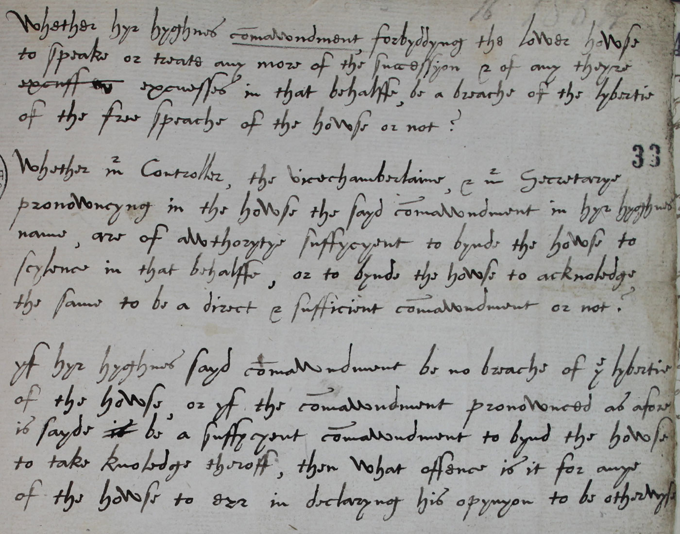 Peter Wentworth's questions on parliamentary privilege, 11 November 1566 (SP 12/41 f.33)