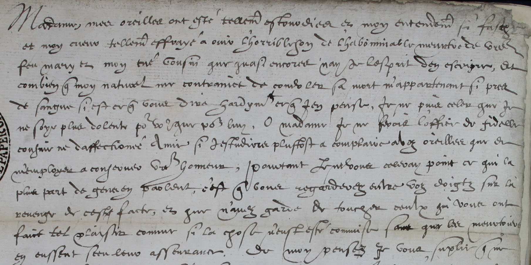 Elizabeth I to Mary Queen of Scots, 24 February 1567 (SP 52/13 f.17)
