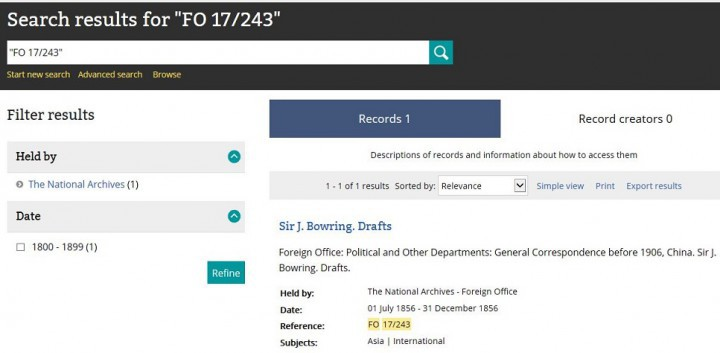 Search results page in Discovery, our online catalogue, showing the result of a search for FO 17/243