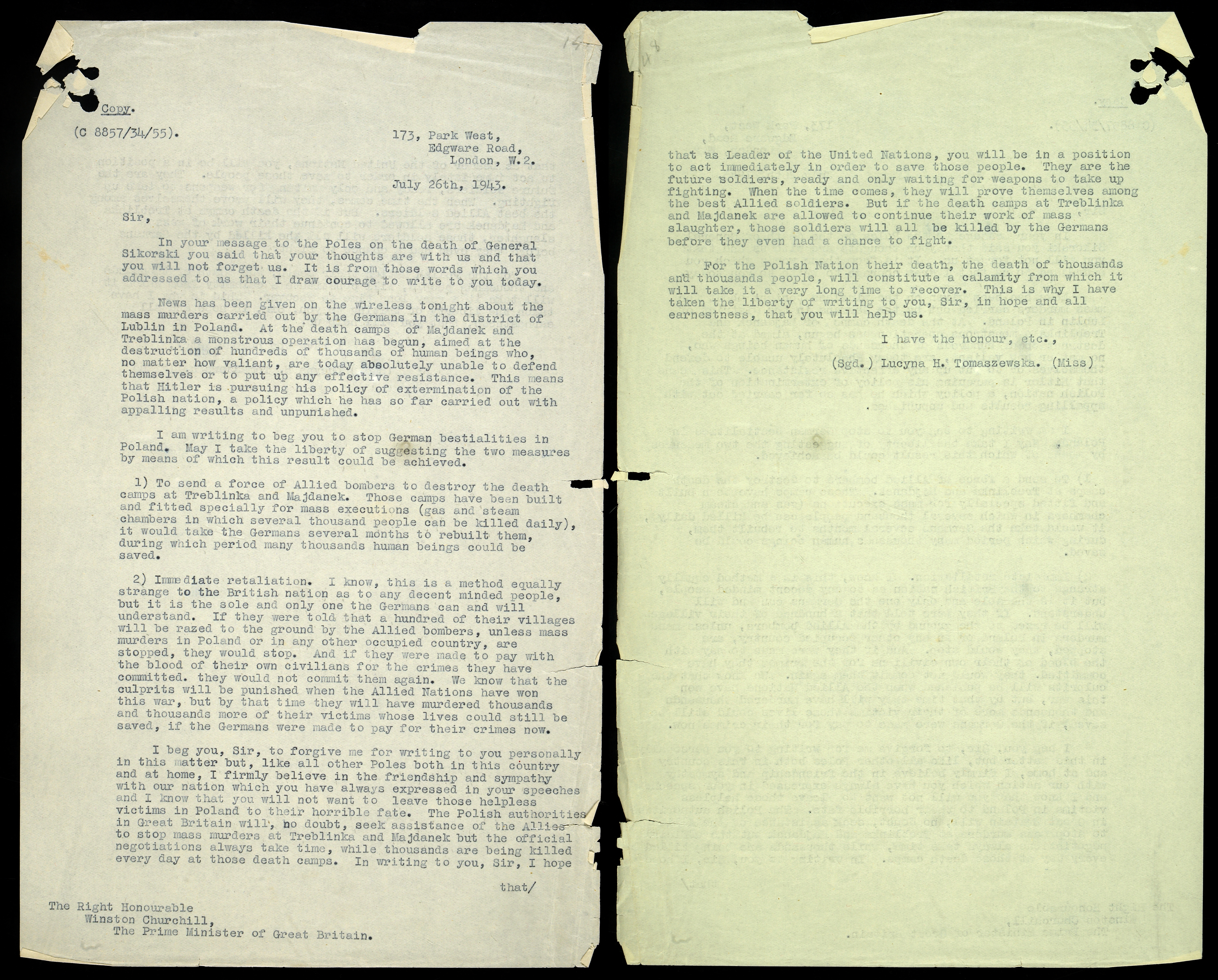 Letter to Churchill requestion action against the persecution of Jews
