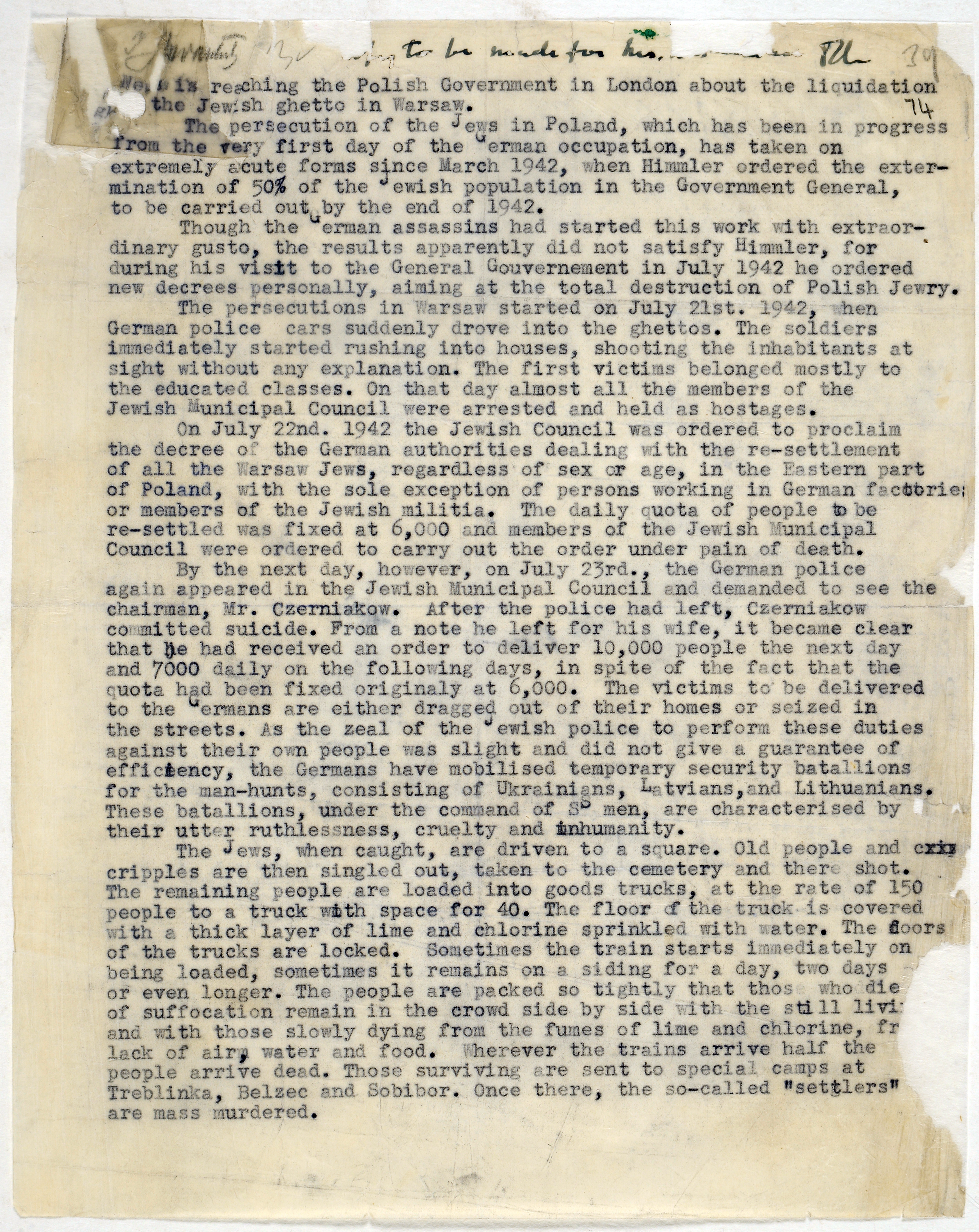 Report on the attack on the Jewish ghetto in Warsaw