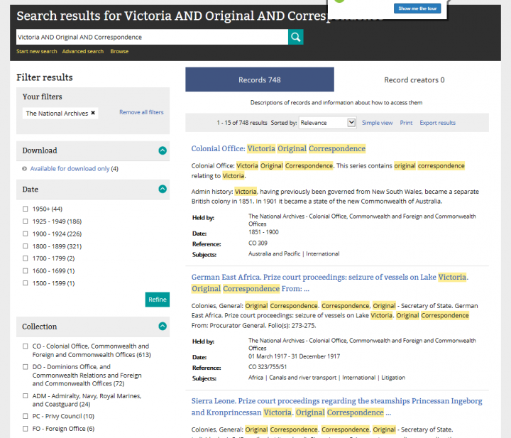 An image of a search results page in our catalogue showing the results of a search for Victoria correspondence.