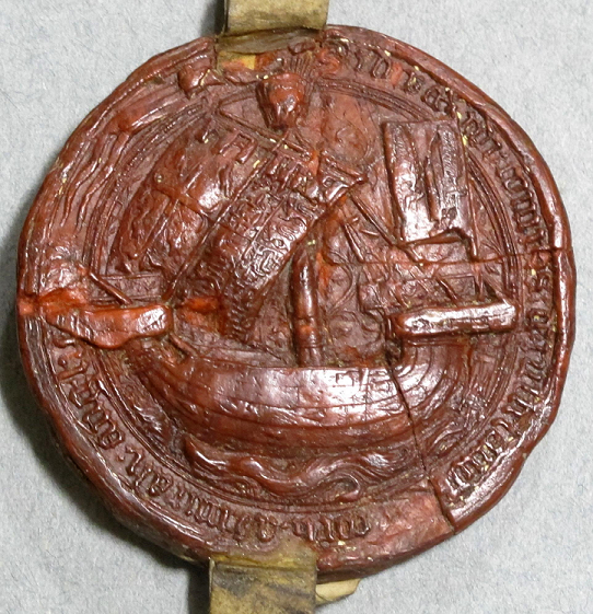 Image of a 14th-century seal depicting a ship.